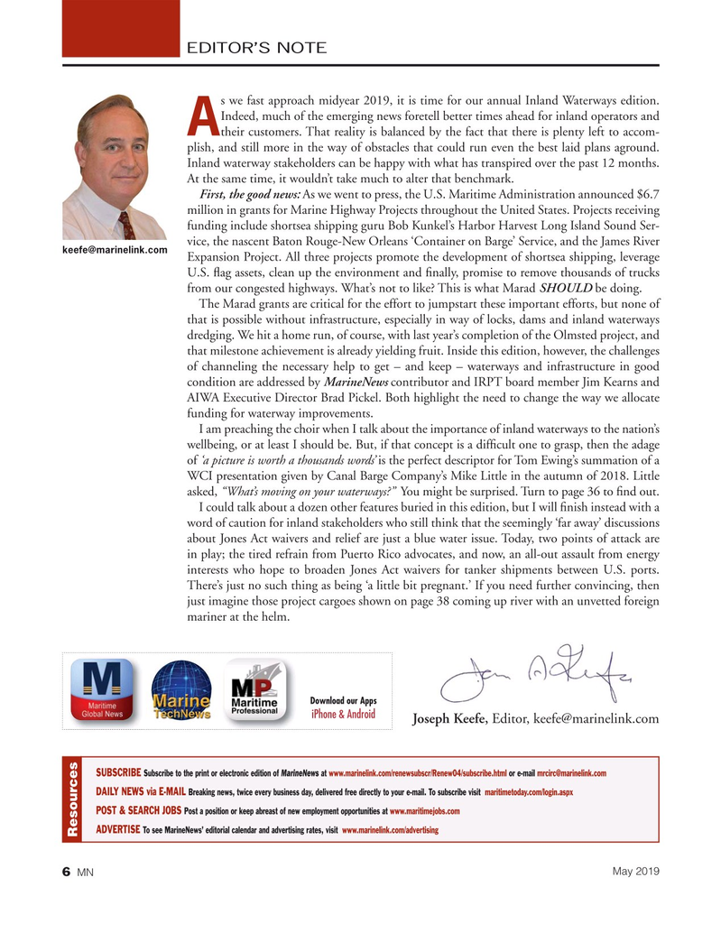 Marine News Magazine, page 6,  May 2019