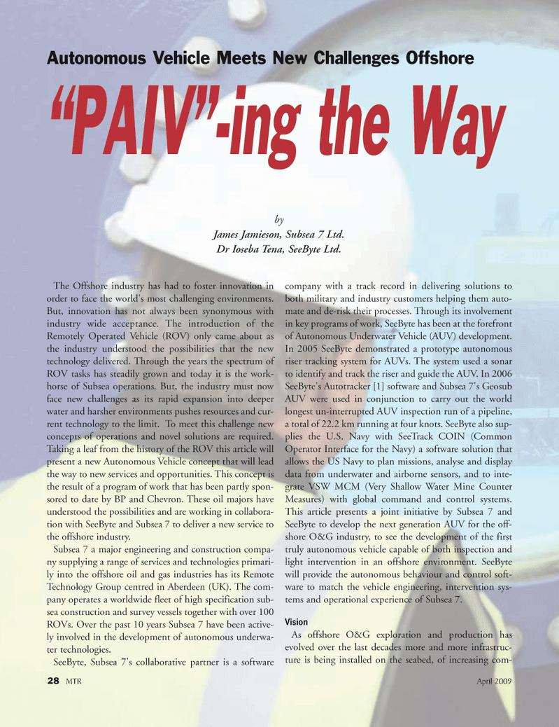 Marine Technology Magazine, page 28,  Apr 2005 James Jamieson