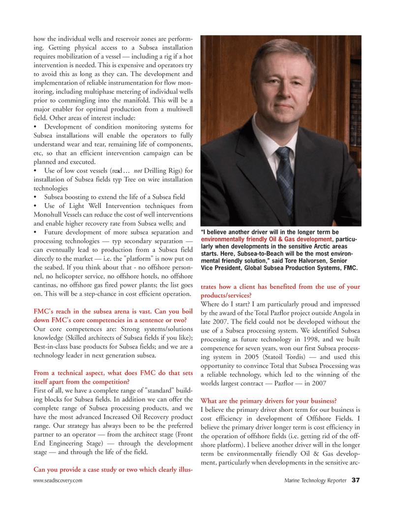 Marine Technology Magazine, page 37,  Apr 2005 Tore Halvorsen