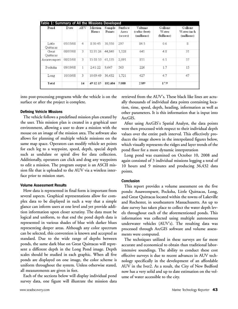 Marine Technology Magazine, page 43,  Apr 2005 Massachusetts