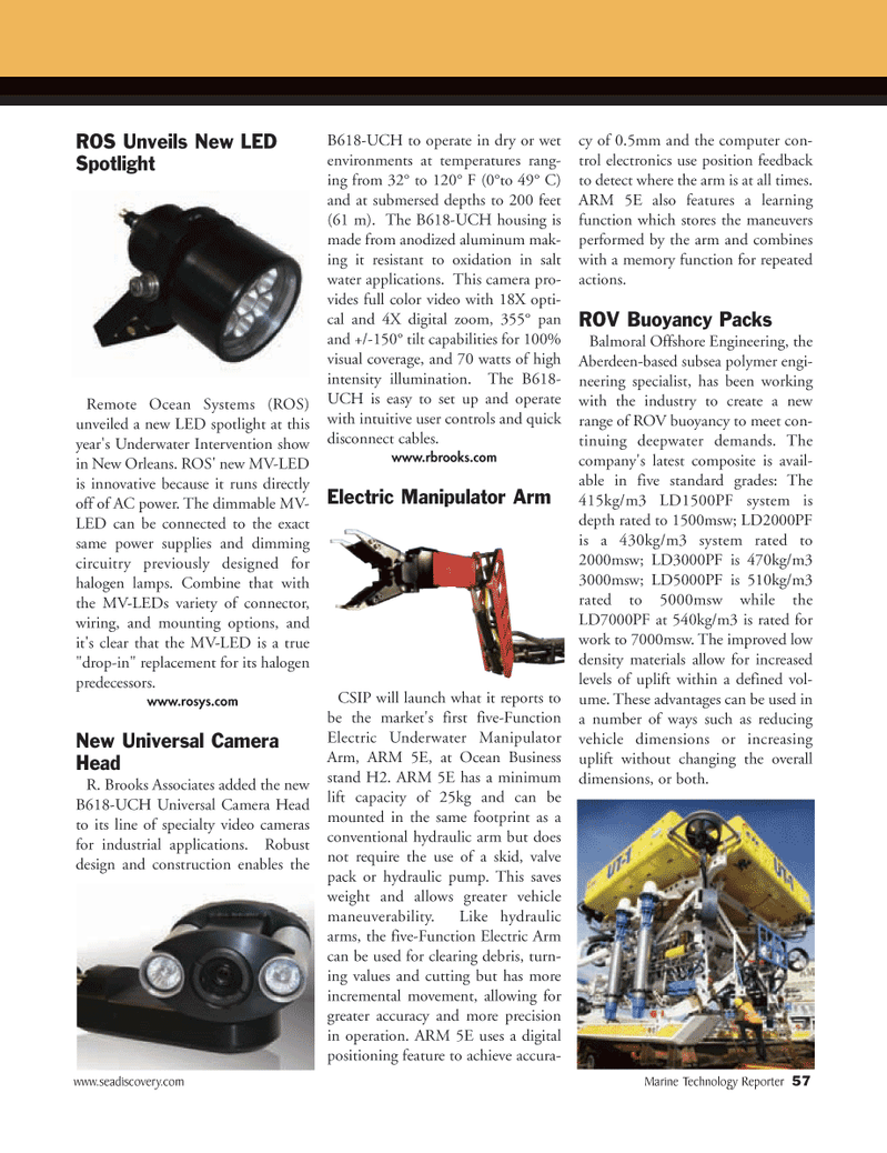 Marine Technology Magazine, page 57,  Apr 2005 salt water applications