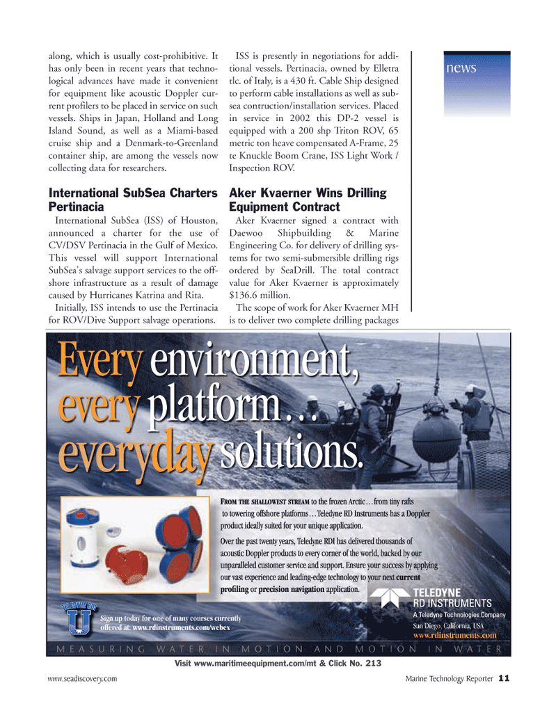 Marine Technology Magazine, page 10,  Mar 2006 salvage support services