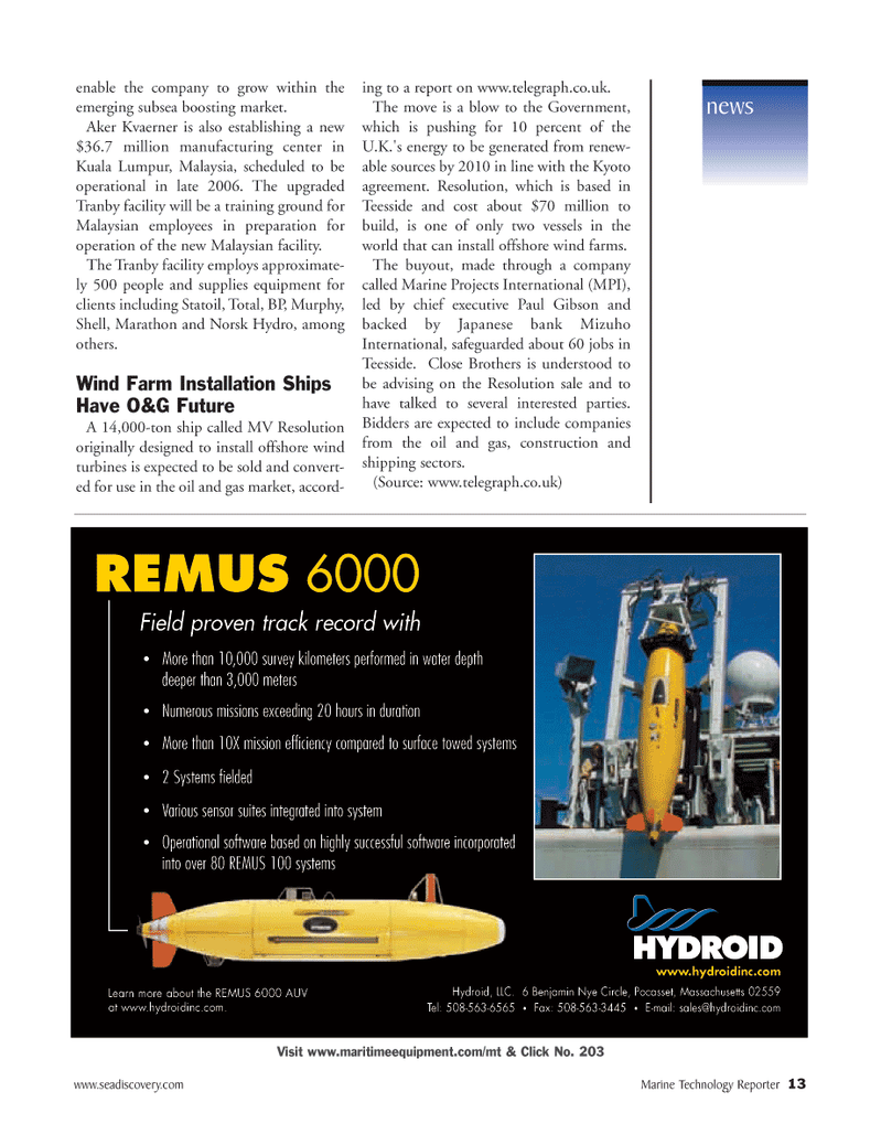 Marine Technology Magazine, page 12,  Mar 2006 10X mission