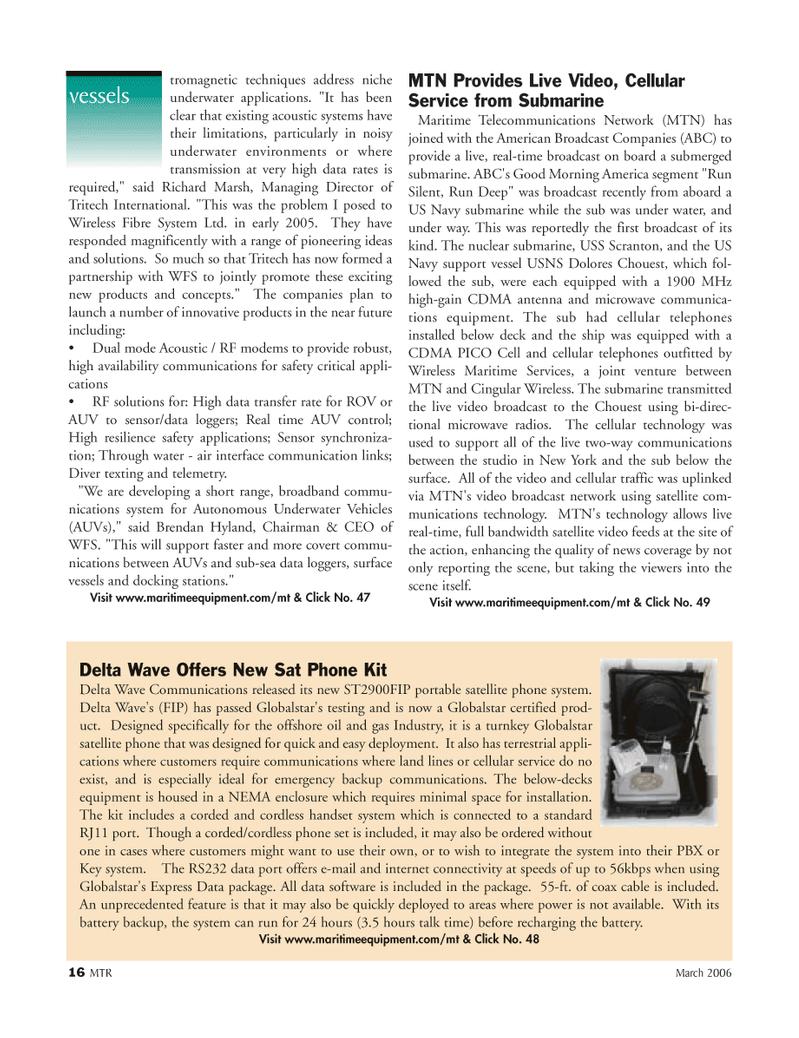 Marine Technology Magazine, page 15,  Mar 2006 Broadband