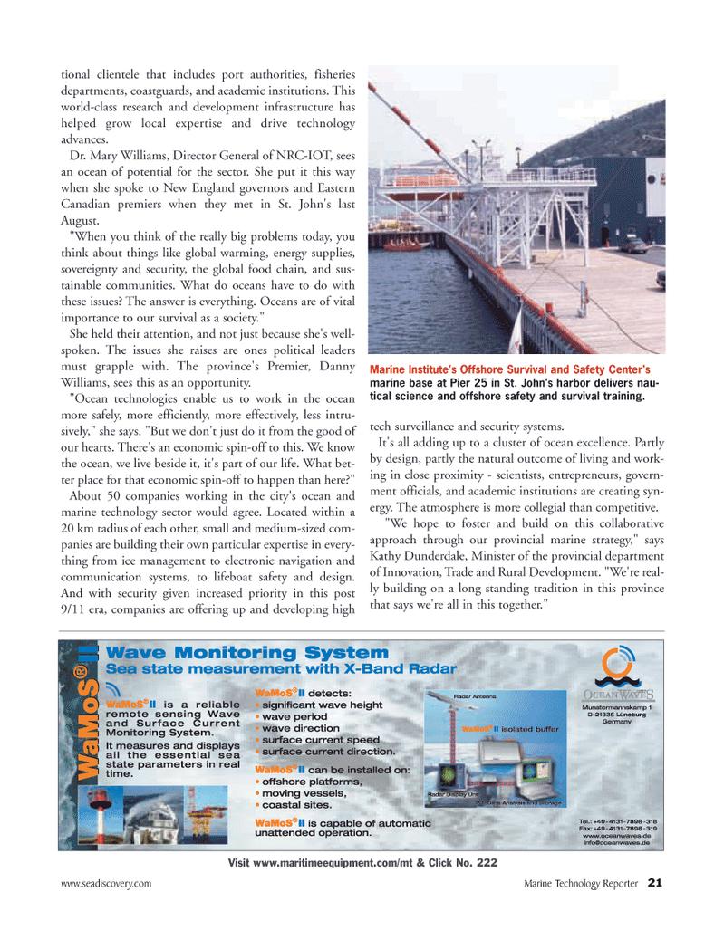 Marine Technology Magazine, page 20,  Mar 2006 Kathy Dunderdale