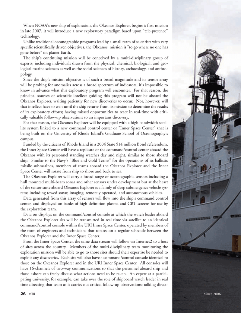 Marine Technology Magazine, page 25,  Mar 2006 National Oceanic and Atmospheric Administration