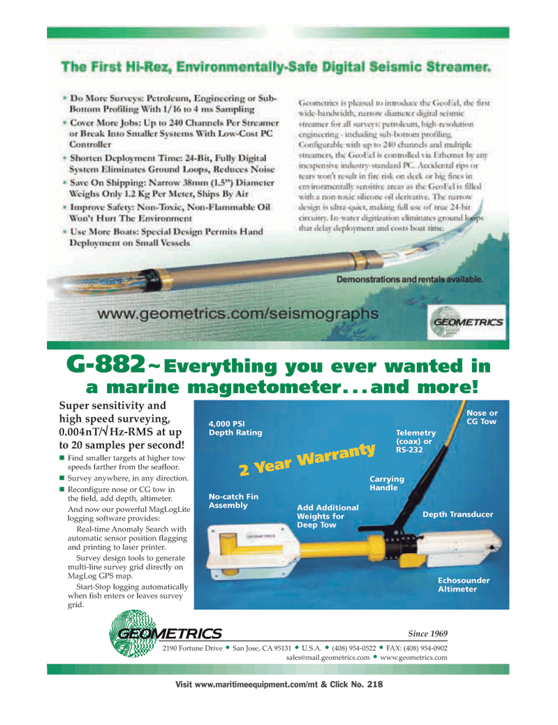 Marine Technology Magazine, page 30,  Mar 2006 California