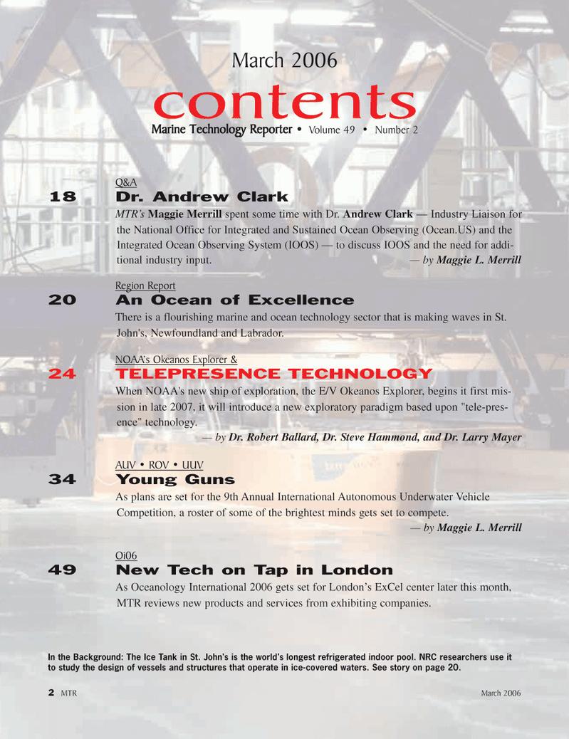 Marine Technology Magazine, page 2,  Mar 2006 Larry Mayer