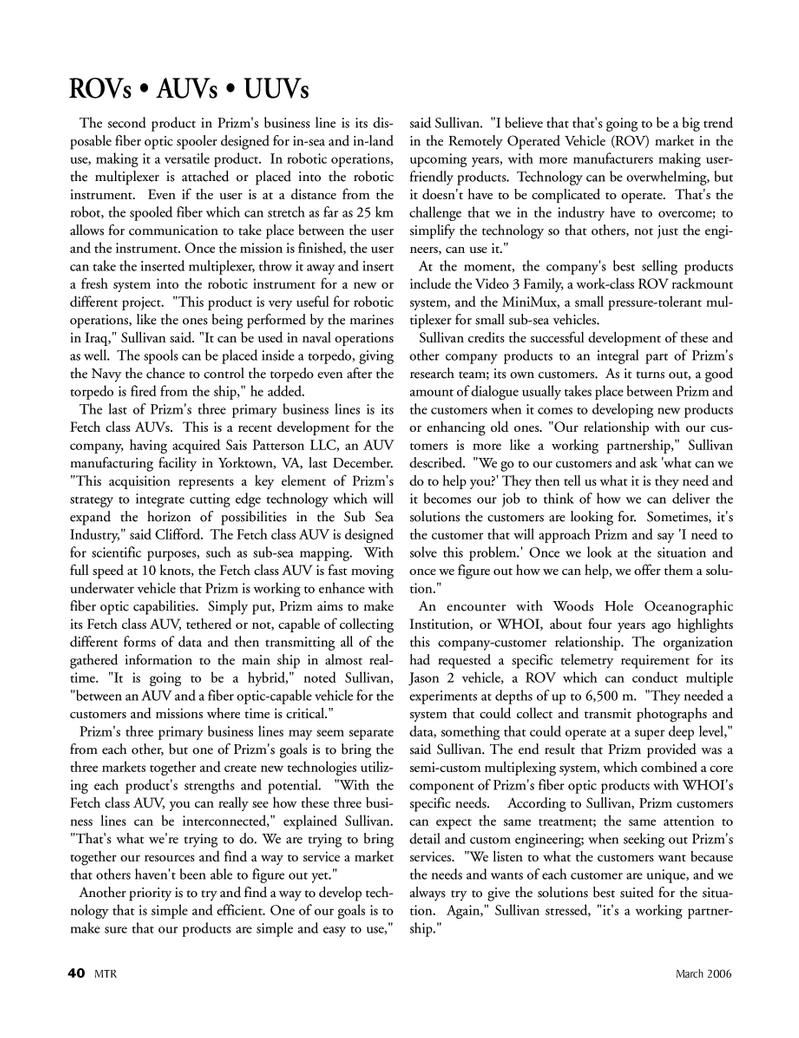 Marine Technology Magazine, page 39,  Mar 2006 Woods Hole