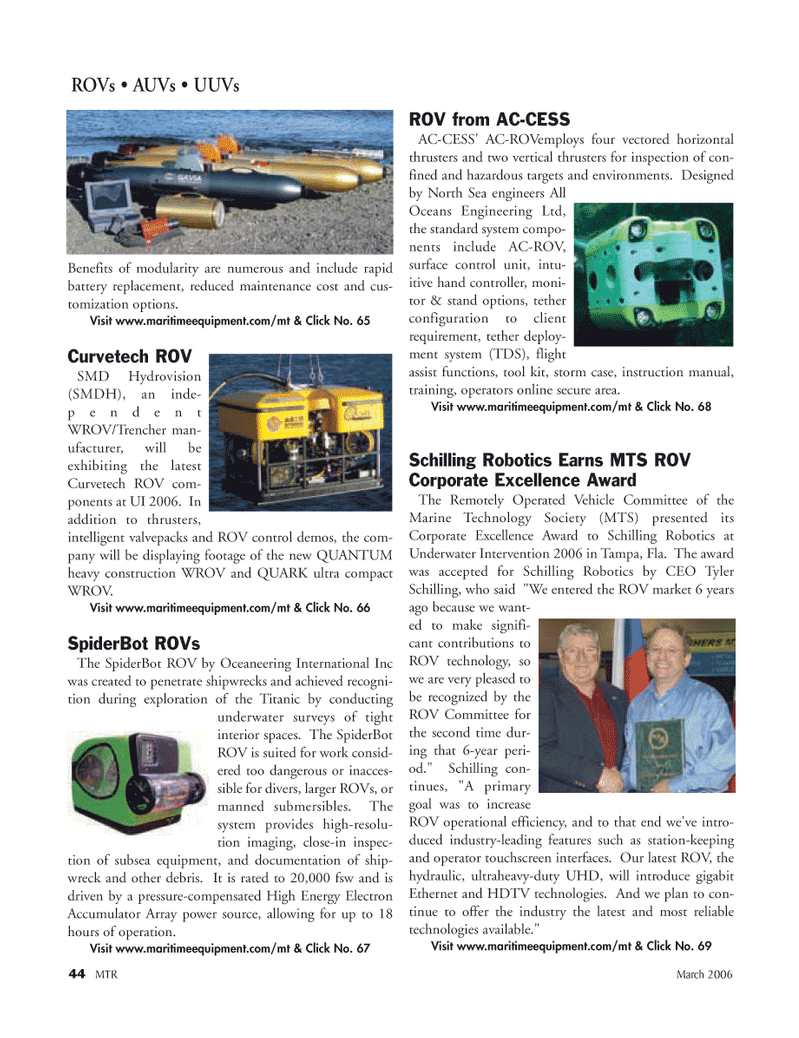 Marine Technology Magazine, page 42,  Mar 2006 ROV technology