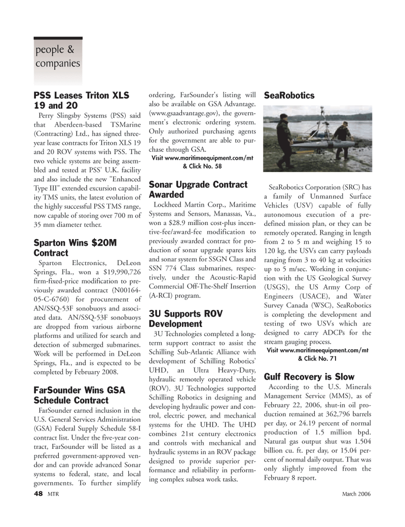 Marine Technology Magazine, page 46,  Mar 2006 U.S. General Services Administration