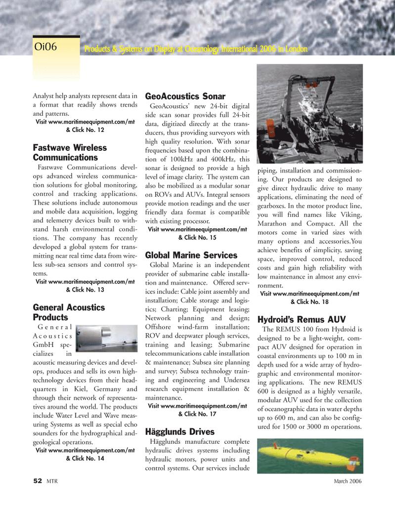 Marine Technology Magazine, page 50,  Mar 2006 telecommunications