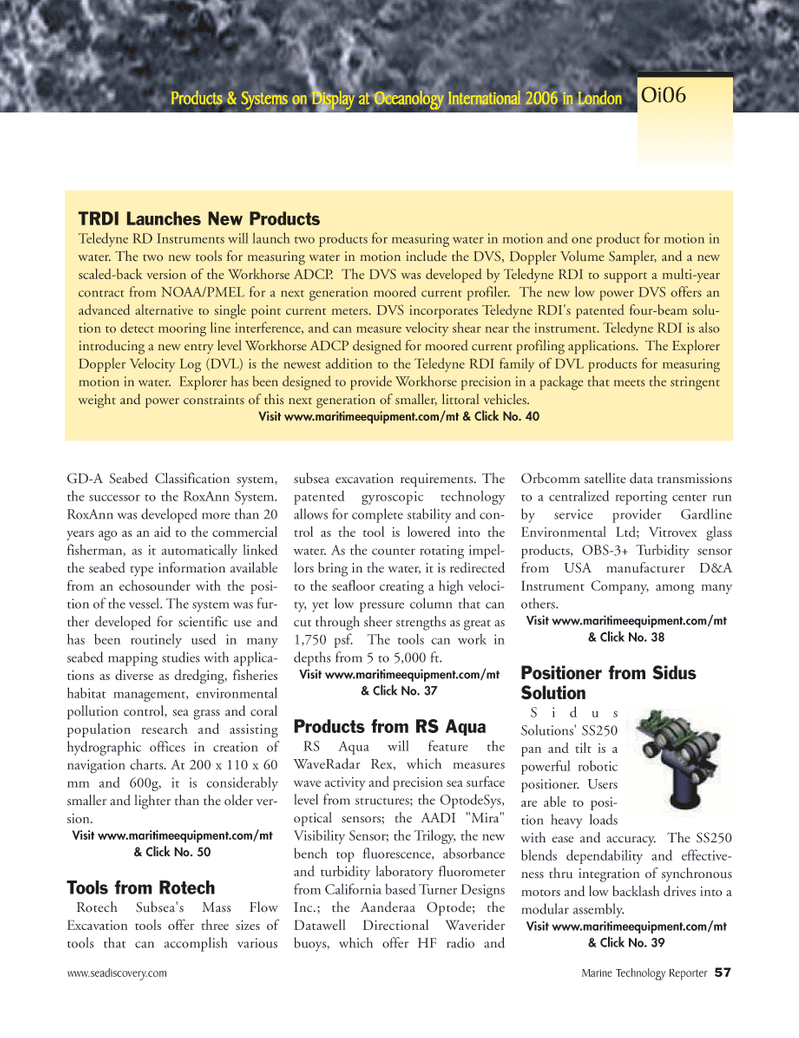 Marine Technology Magazine, page 55,  Mar 2006 Explorer