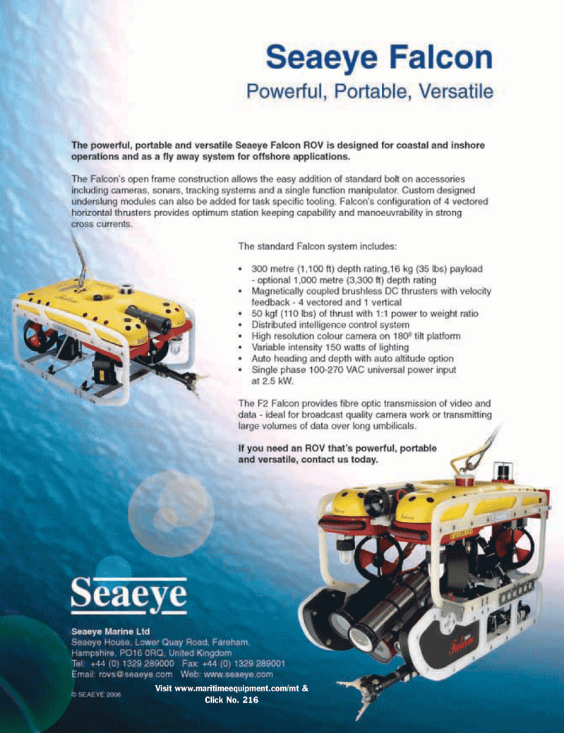 Marine Technology Magazine, page 3rd Cover,  Mar 2006