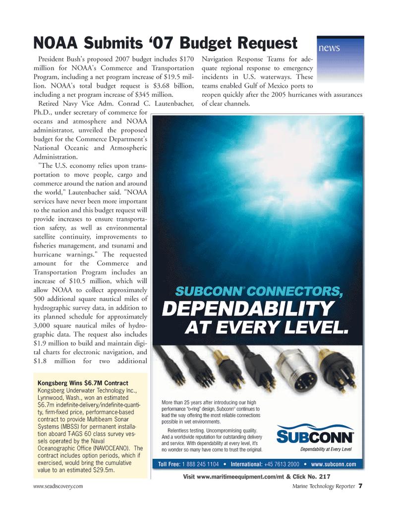 Marine Technology Magazine, page 6,  Mar 2006 Bush
