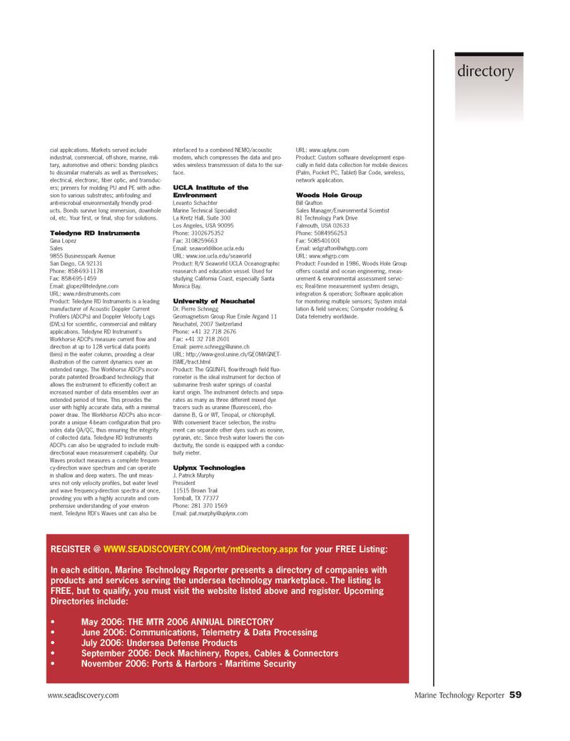 mobile devices, Marine Technology Magazine April 2006 #59