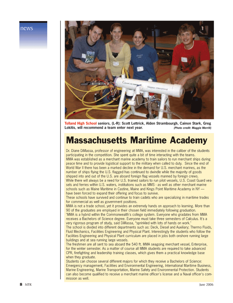Marine Technology Magazine, page 8,  Jun 2006