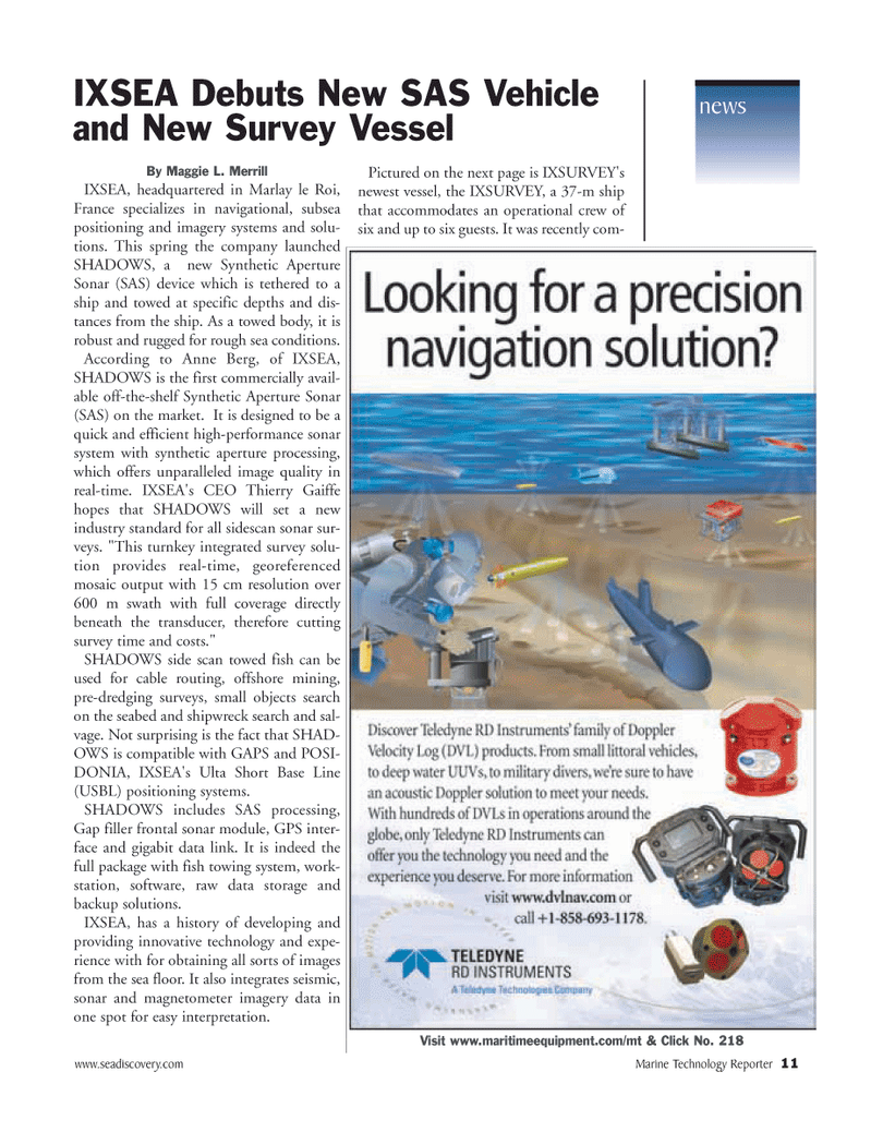 Marine Technology Magazine, page 11,  Jun 2006