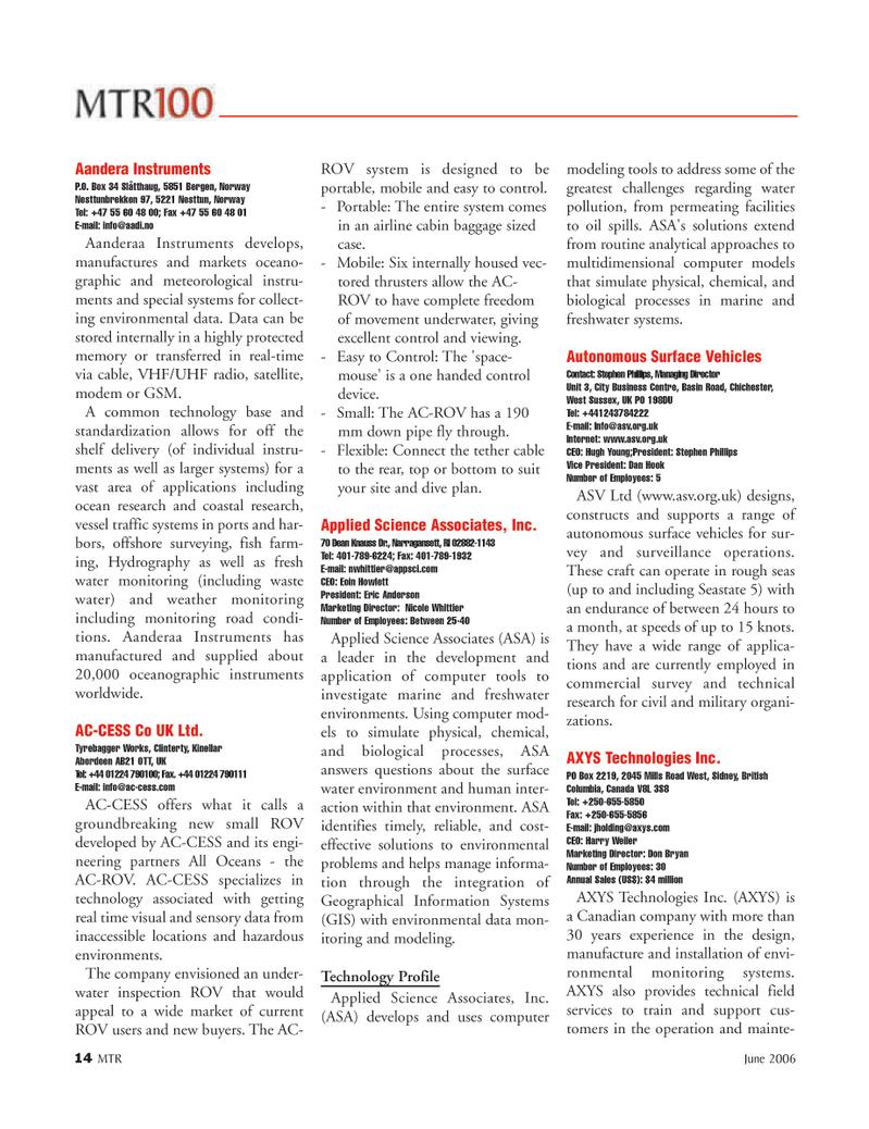 Marine Technology Magazine, page 14,  Jun 2006