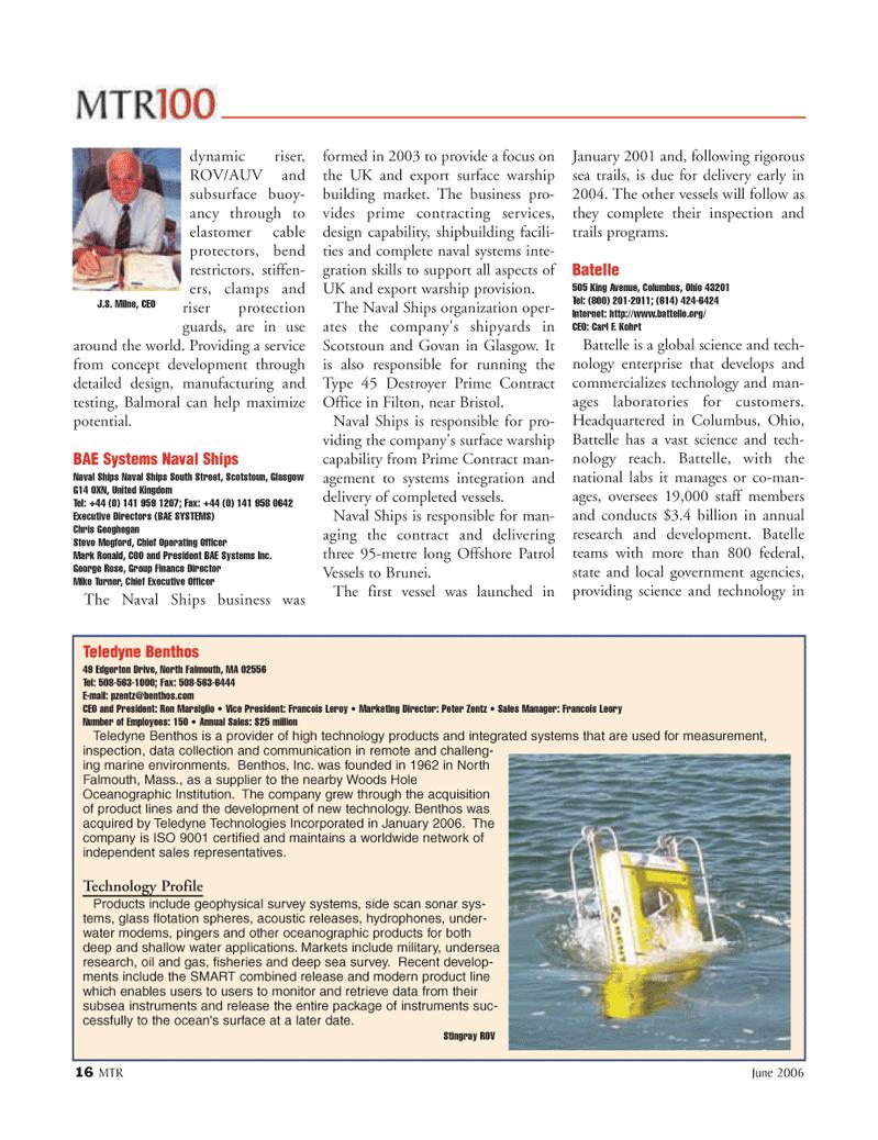 Marine Technology Magazine, page 16,  Jun 2006