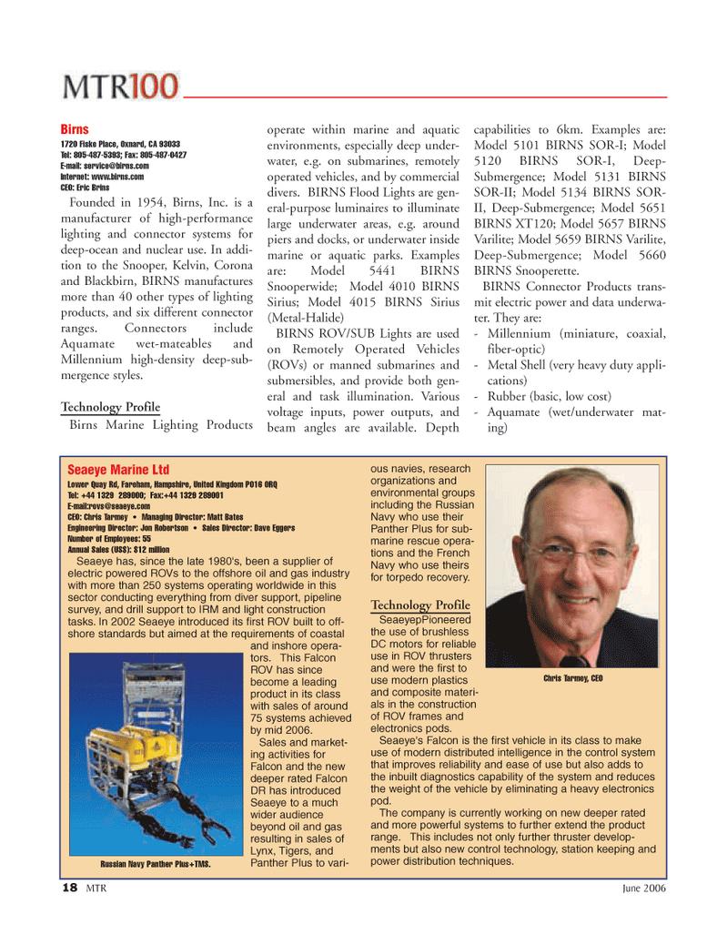 Marine Technology Magazine, page 18,  Jun 2006