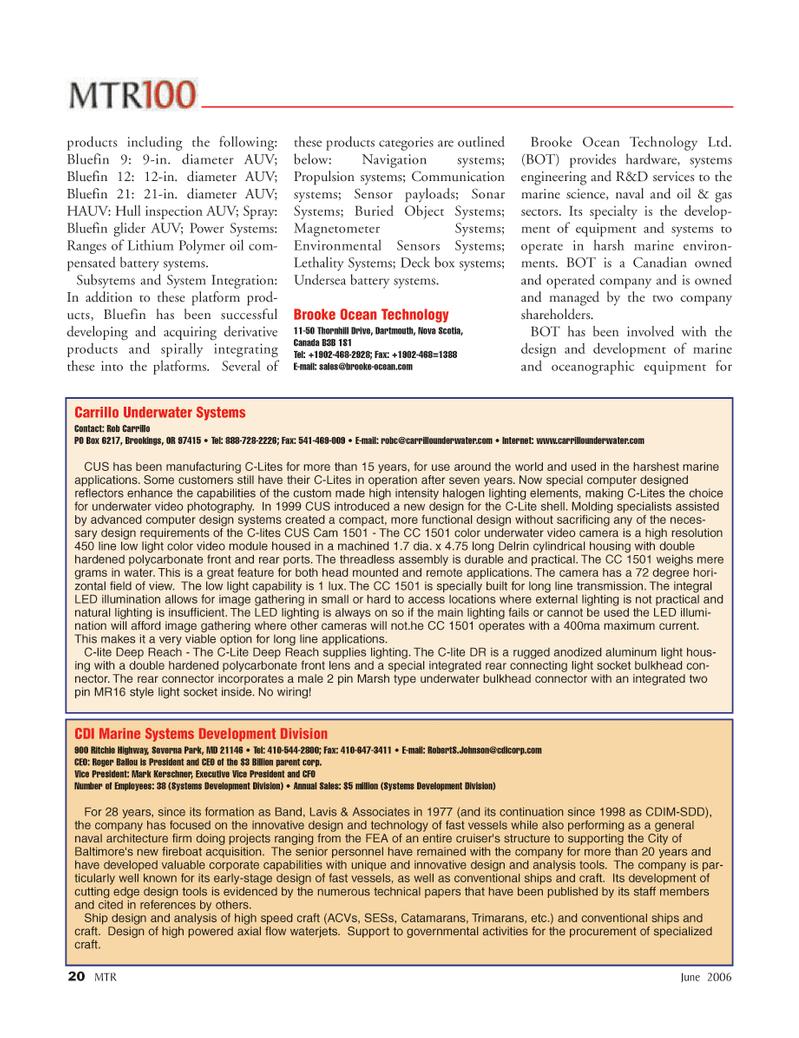 Marine Technology Magazine, page 20,  Jun 2006