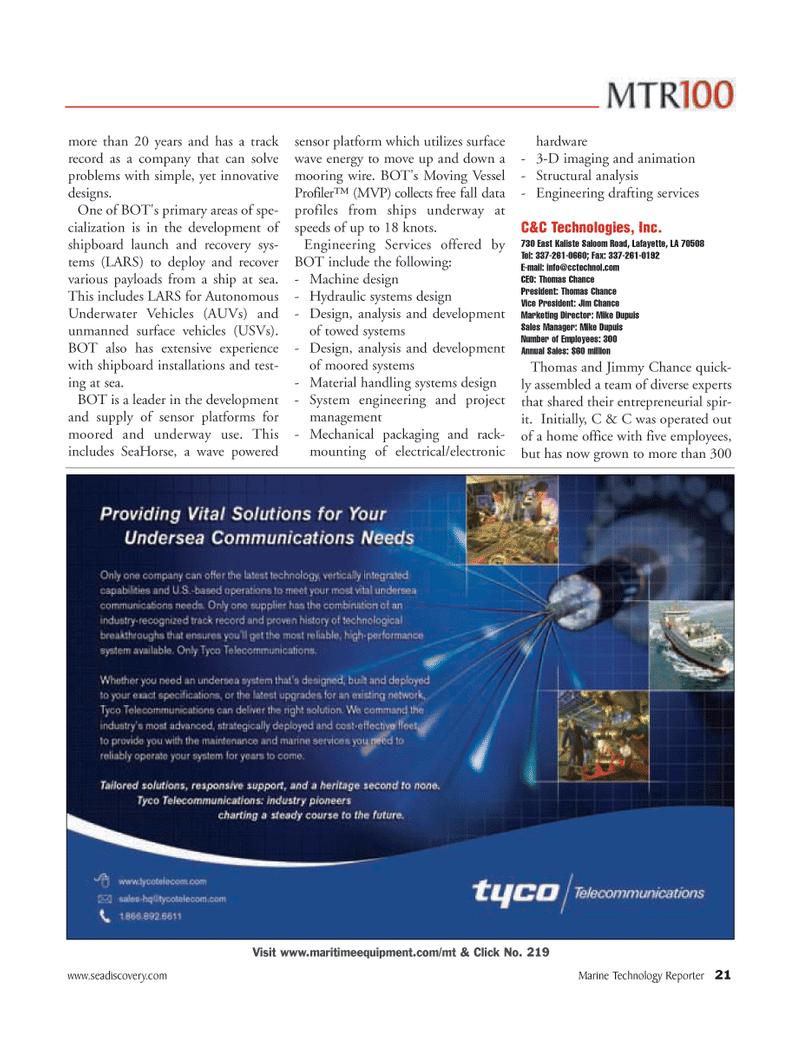 Marine Technology Magazine, page 21,  Jun 2006