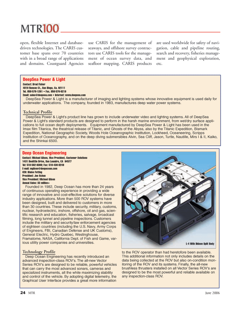 Marine Technology Magazine, page 24,  Jun 2006