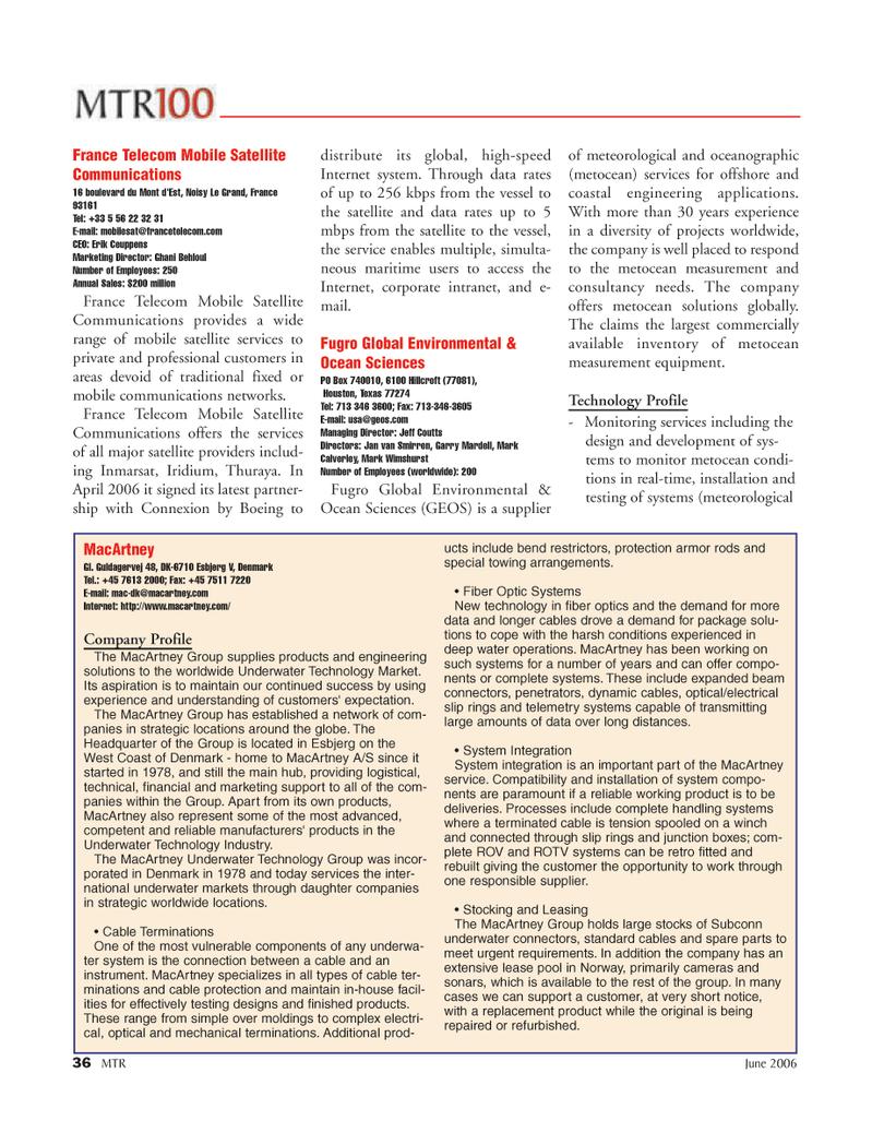 Marine Technology Magazine, page 36,  Jun 2006