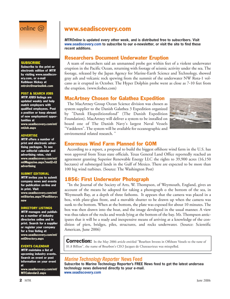 Marine Technology Magazine, page 2,  Jun 2006