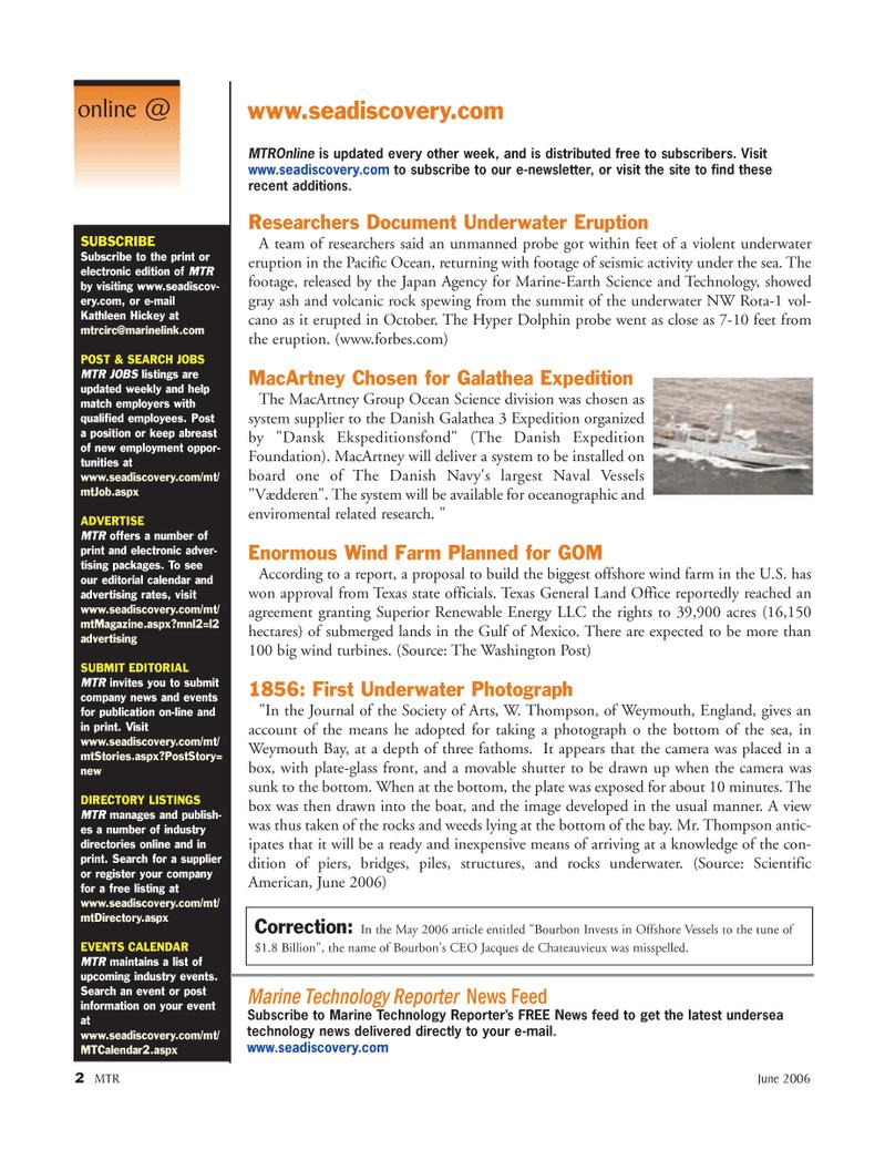 Marine Technology Magazine, page 2,  Jun 2006