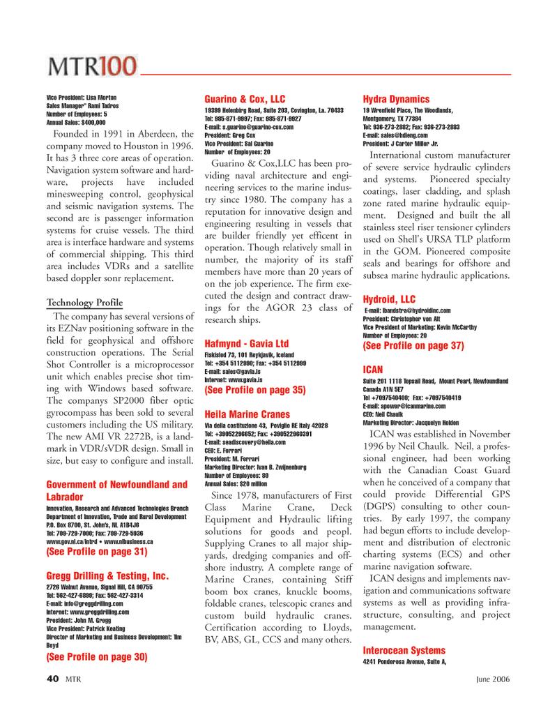 Marine Technology Magazine, page 40,  Jun 2006