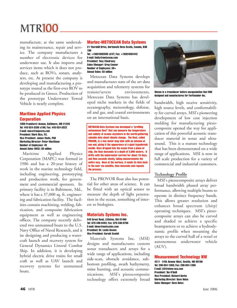 Marine Technology Magazine, page 46,  Jun 2006