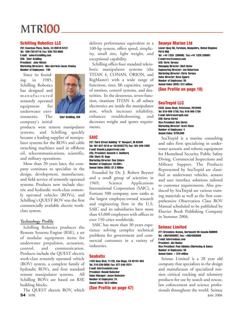 Marine Technology Magazine, page 54,  Jun 2006