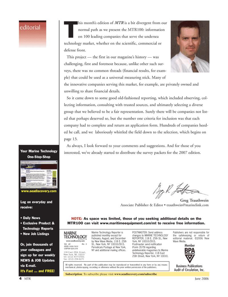 Marine Technology Magazine, page 4,  Jun 2006