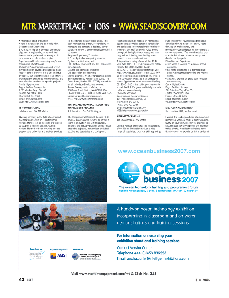 Marine Technology Magazine, page 62,  Jun 2006