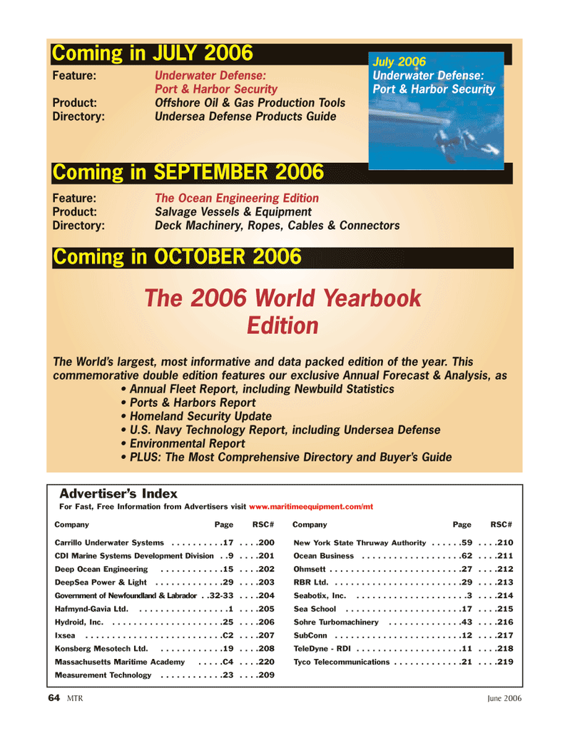 Marine Technology Magazine, page 64,  Jun 2006