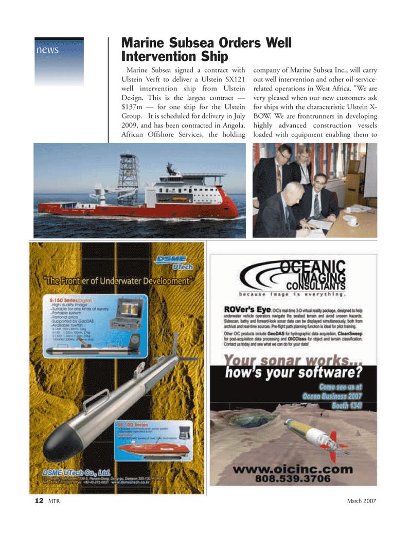 Marine Technology Magazine, page 12,  Mar 2007 Angola