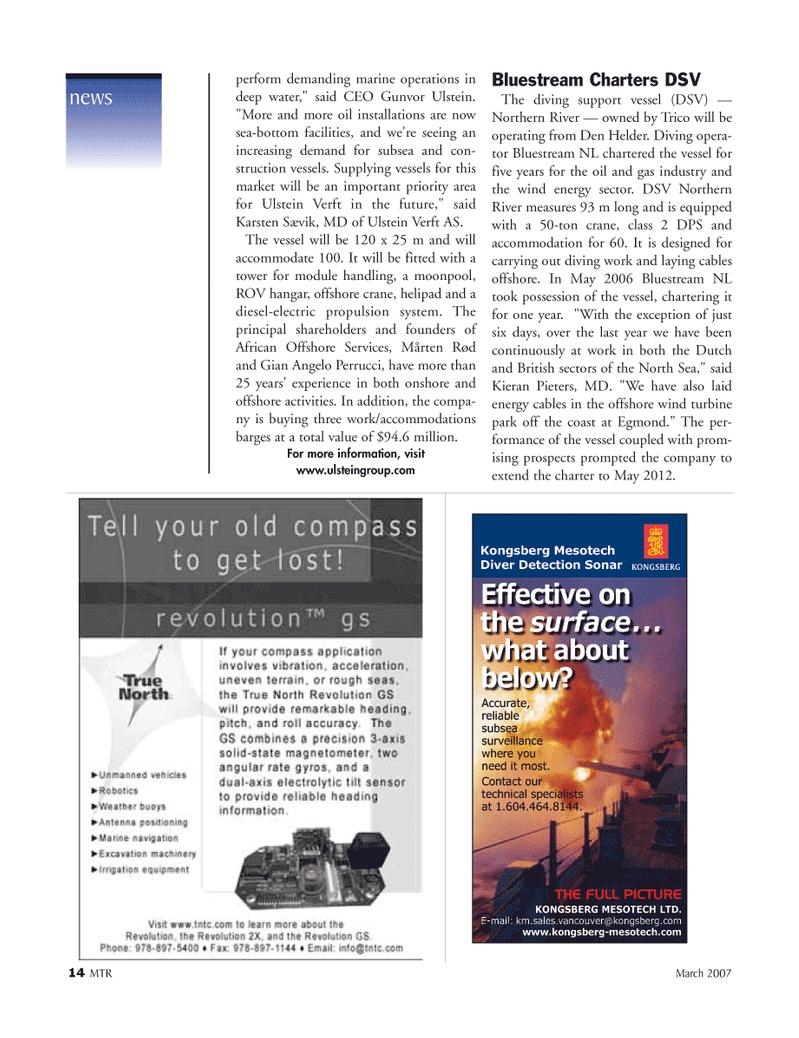 Marine Technology Magazine, page 14,  Mar 2007 Gunvor Ulstein
