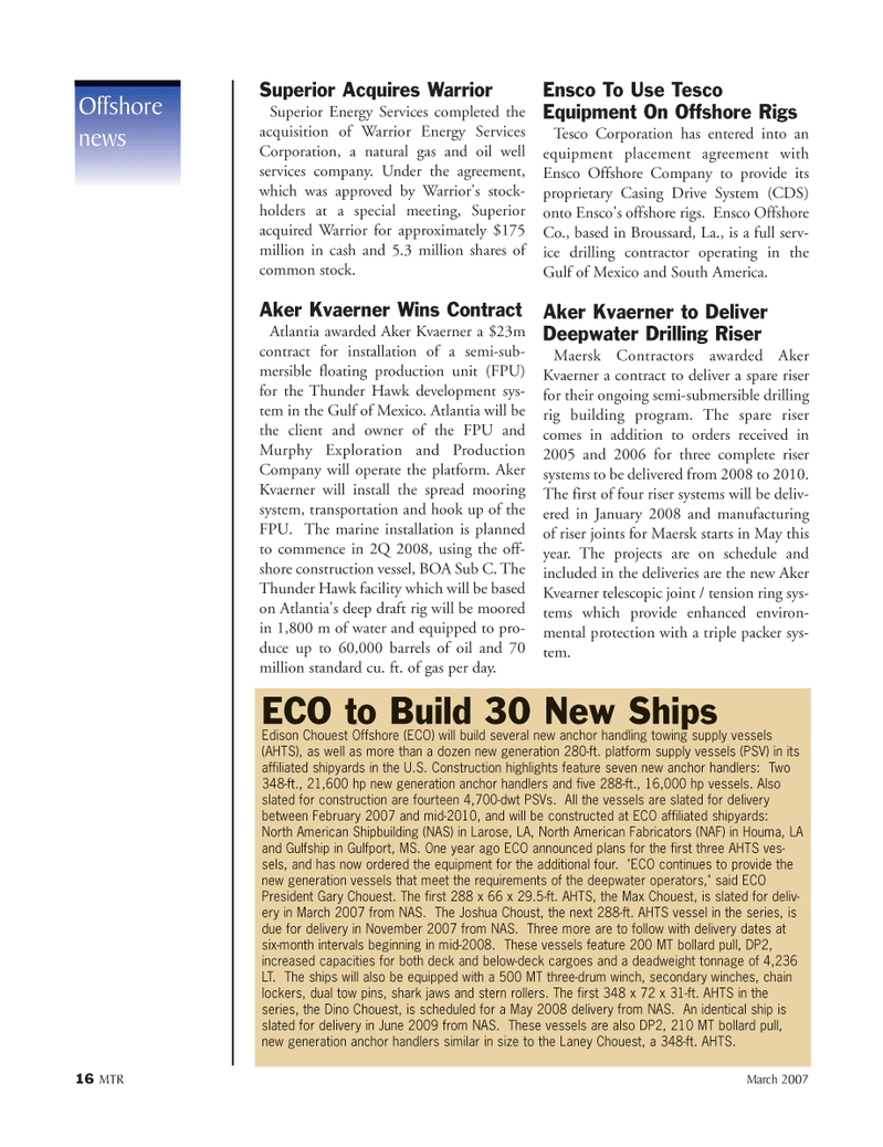 Marine Technology Magazine, page 16,  Mar 2007 Casing Drive System