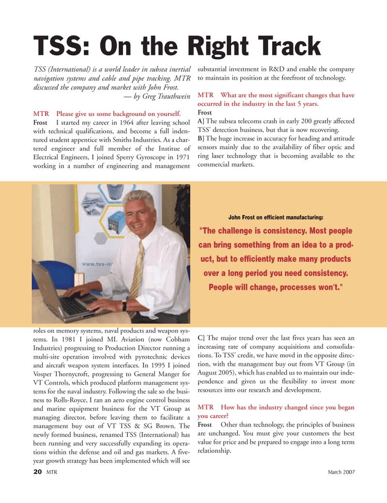 Marine Technology Magazine, page 20,  Mar 2007 ring laser technology
