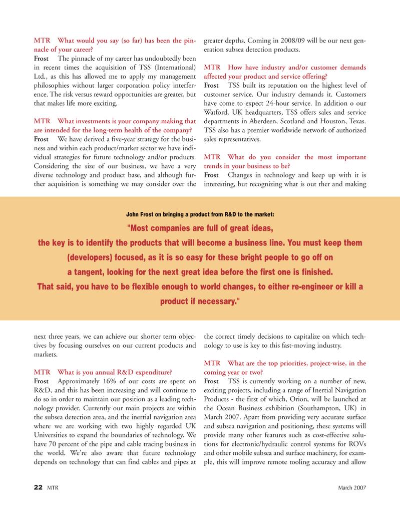 Marine Technology Magazine, page 22,  Mar 2007 Frost Approximately