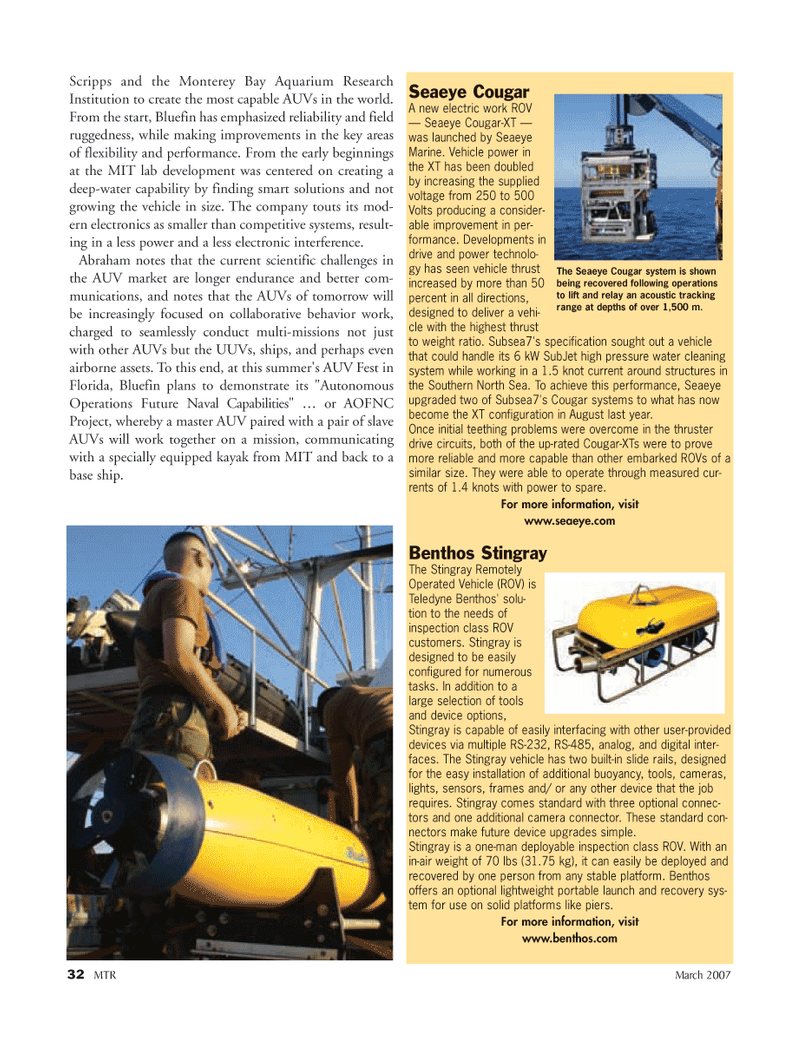Marine Technology Magazine, page 32,  Mar 2007 XT