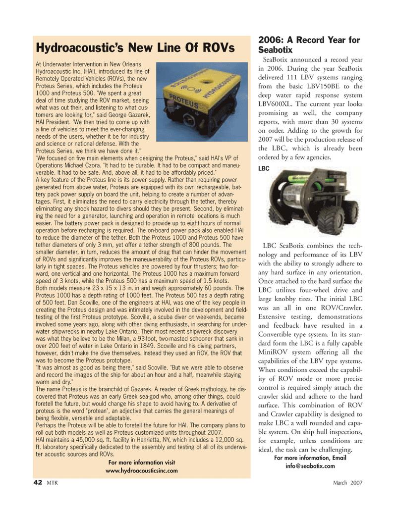 Marine Technology Magazine, page 42,  Mar 2007 type systems