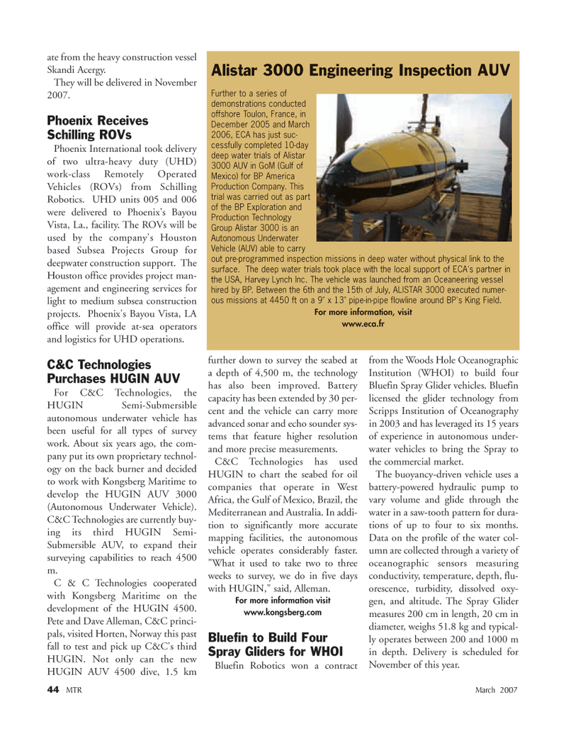 Marine Technology Magazine, page 44,  Mar 2007 Louisiana