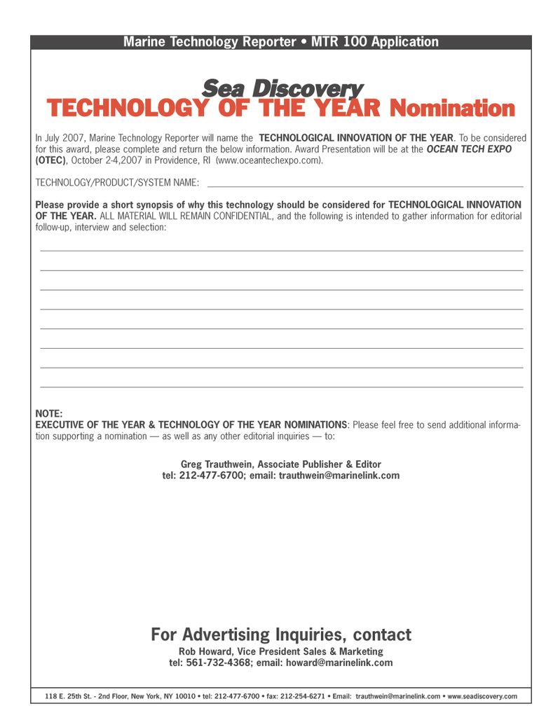 Marine Technology Magazine, page 48,  Mar 2007 TECHNOLOGY OF THE YEAR Nomination In July
