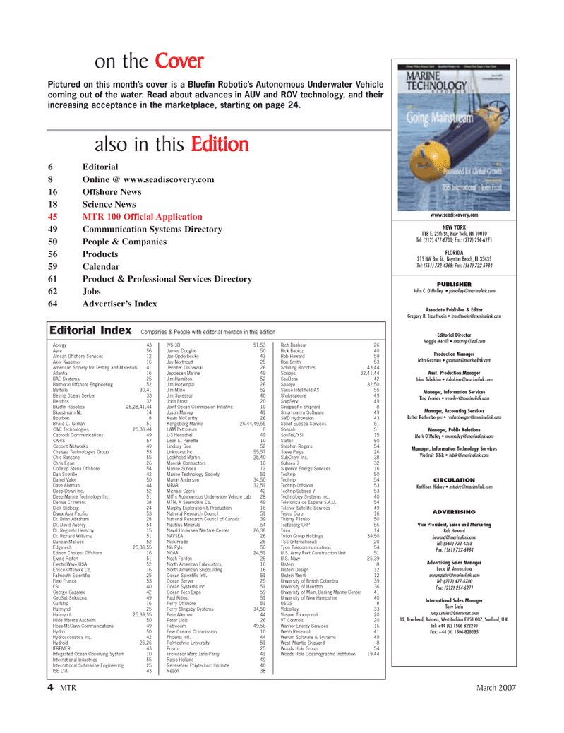 Marine Technology Magazine, page 4,  Mar 2007 Science News