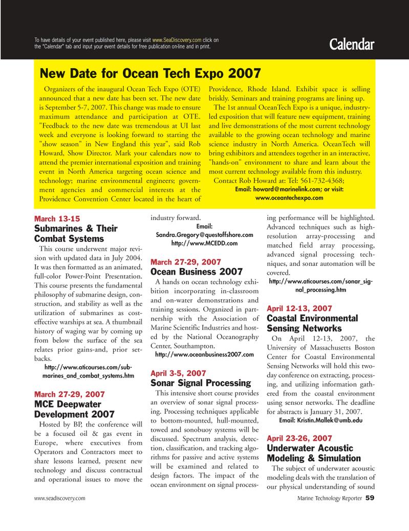 Marine Technology Magazine, page 59,  Mar 2007 New England