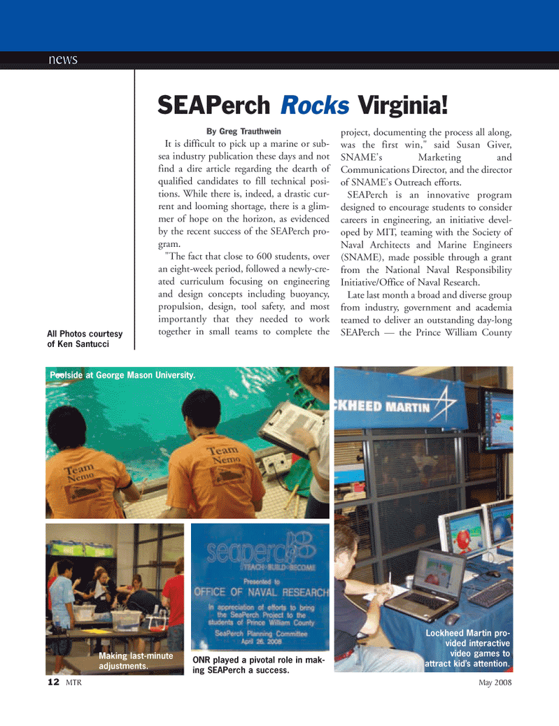 Marine Technology Magazine, page 12,  May 2008 Susan Giver