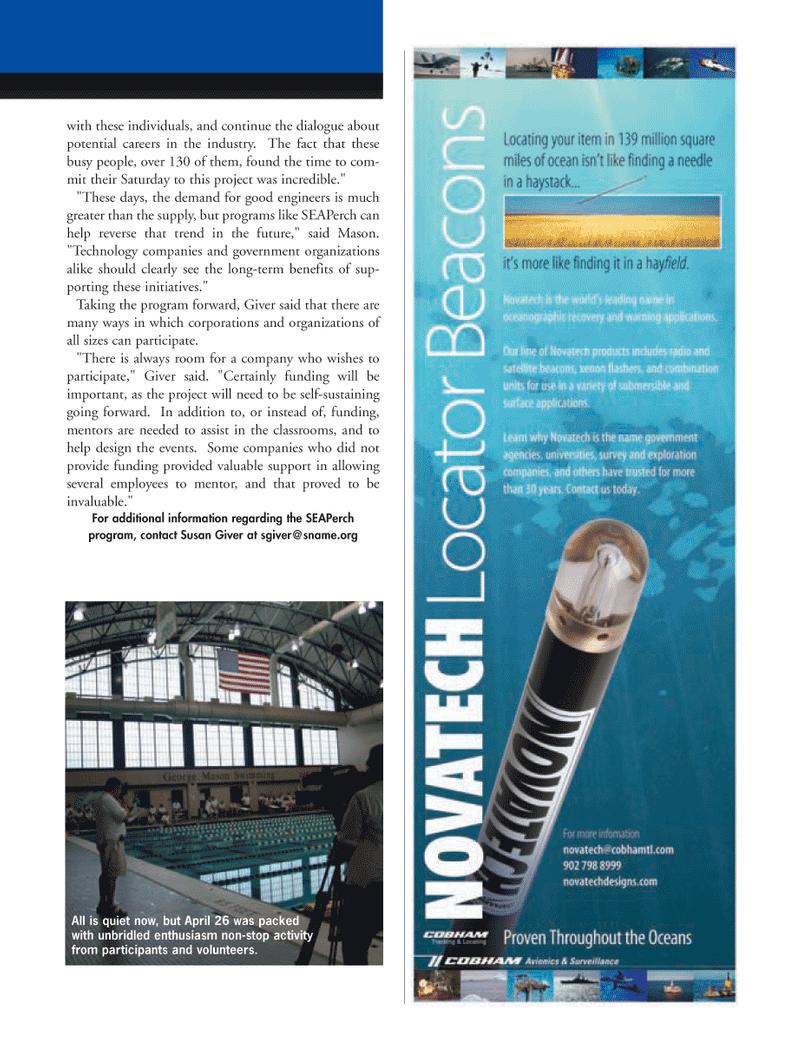 Marine Technology Magazine, page 15,  May 2008 Susan Giver